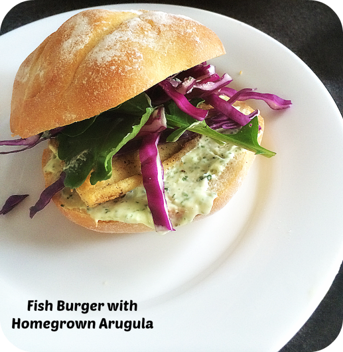 fish burger arugula
